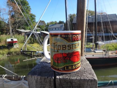 Vintage lobster label mug