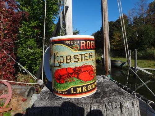 Vintage lobster coffee mug
