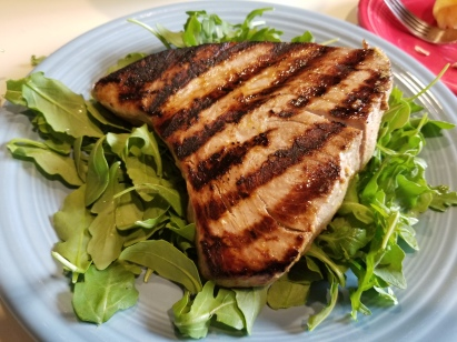 grilled ahi on bed of arugula