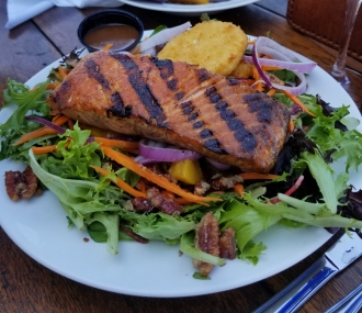 grilled peach salad with salmon