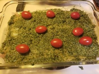 Pesto haddock prep