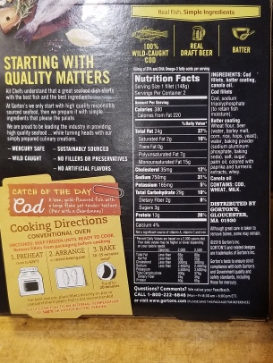 Gorton's nutritional information