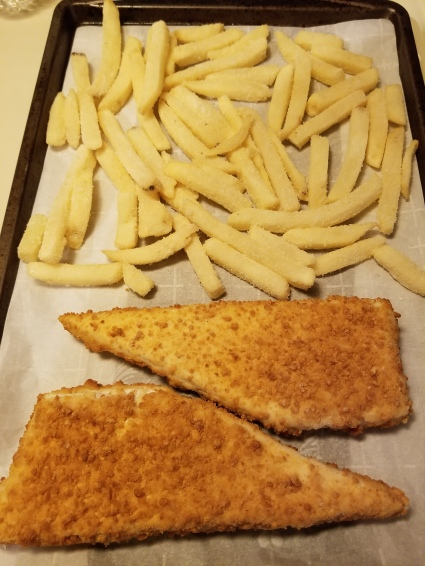 Haddock and frozen fries