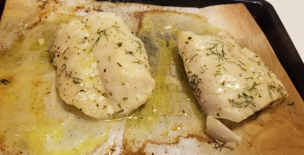 Baked cod with butter lemon dill