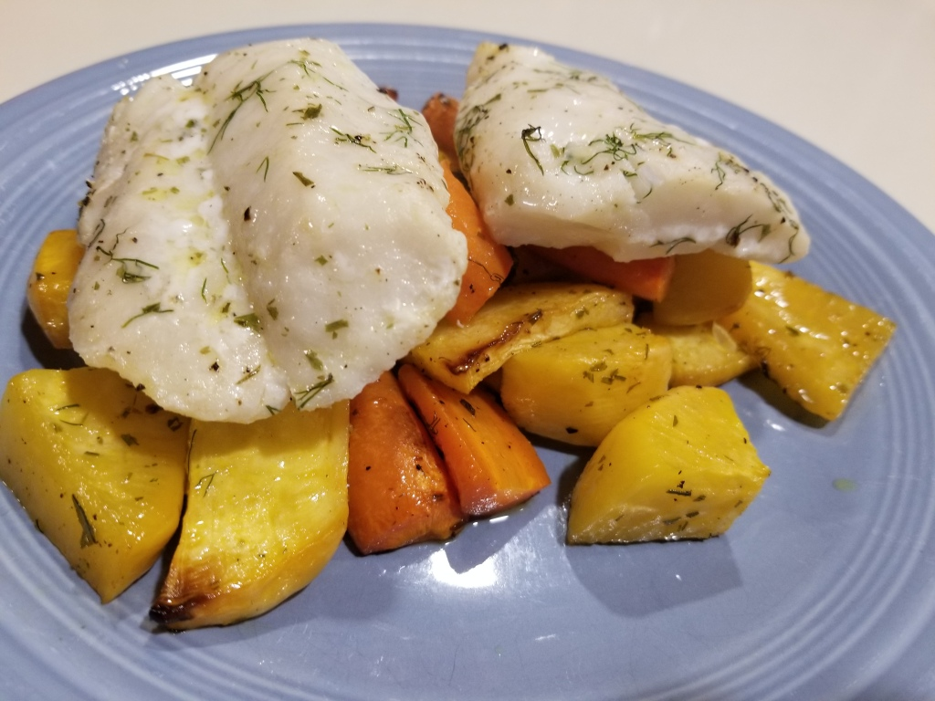 Alaskan cod with rutabaga and carrot
