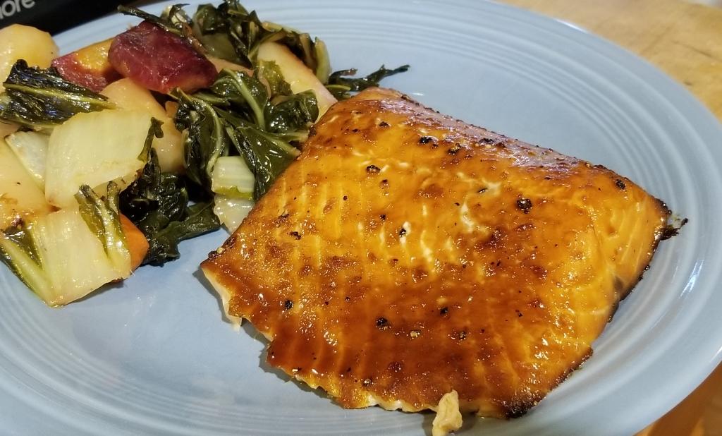 Scottish salmon with maple soy ginger glaze