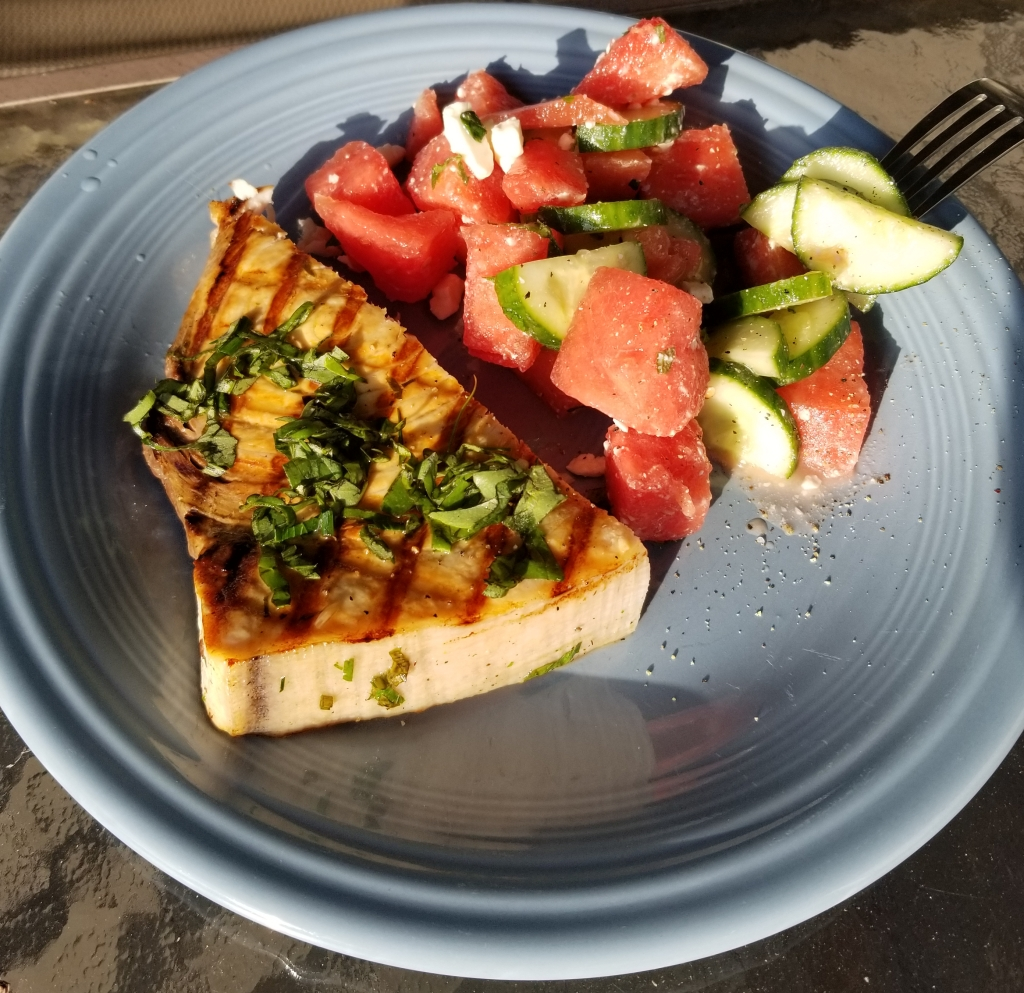 Swordfish with watermelon salad