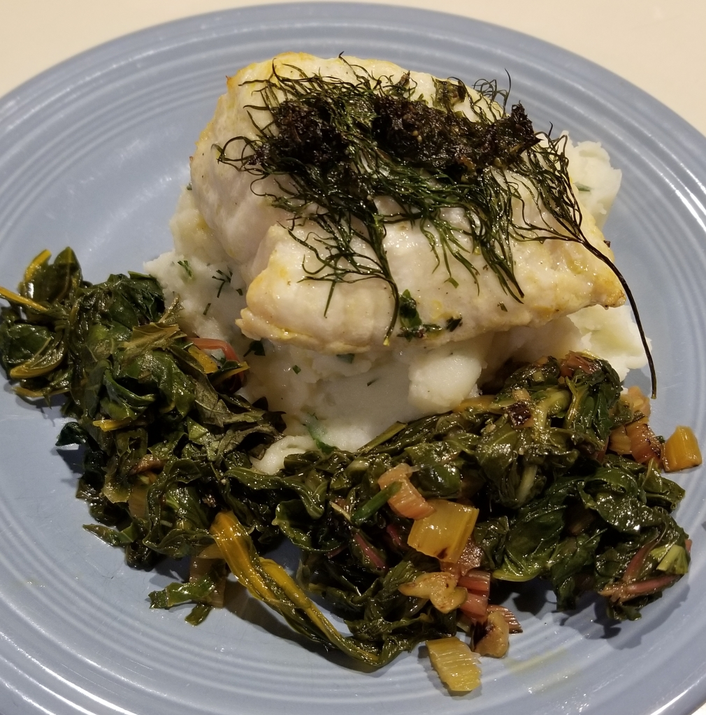 cusk with chard and herb potatoes