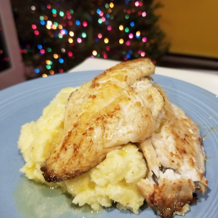 pan seared black sea bass with mashed